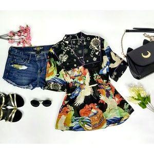 Lucky Brand Kimono Style Short Sleeve Cotton Top